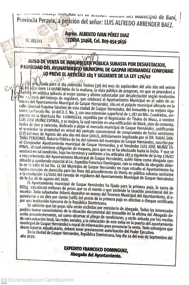 AVISO DE VENTA DE INMUEBLE EN PÚBLICA SUBASTA
